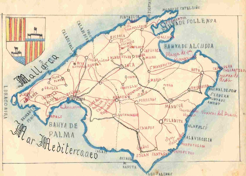 Map Of Spain Majorca.Vintage Maps And Shileld From Majorca Spain