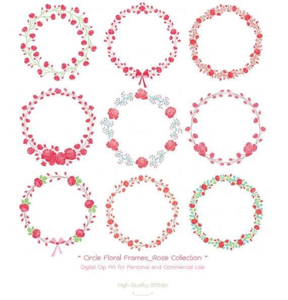 Kreis Floral Frames Rosen-Sammlung Floral Kranz-Hochzeit | Etsy