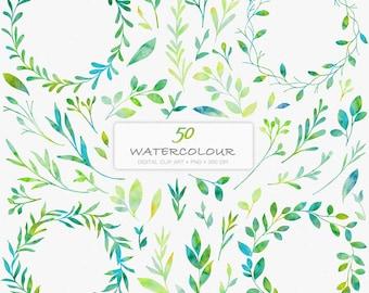 50 Watercolour Florals Digital Clip Art C06-Leaf Wreath-Watercolour Leaves-Wedding-Invitation-Laurels-Watercolour Wreaths-Botanicals