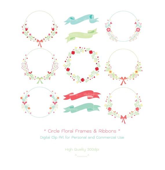 Círculo de Marcos florales y cintas Clip Digital arte alta
