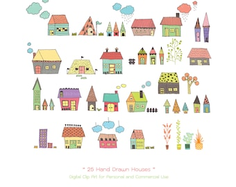 25 Hand Drawn Houses Digital Clipart - Houses Clipart - Hand Drawn Clipart - Cottage Clipart - Home Clipart - Scrapbooking - Housewarming