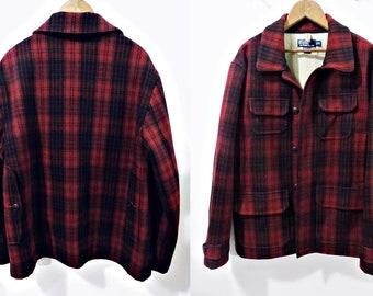 d2707eabe Vintage Polo Ralph Lauren Wool Red Plaid LUMBERJACK Jacket 42 chest