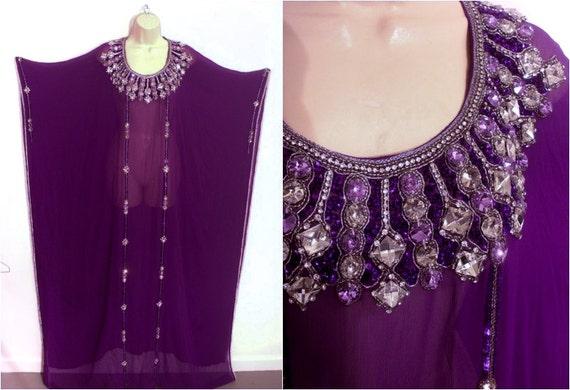 Caftan Bohemian Hippie Purple Silk Sheer Beaded Je