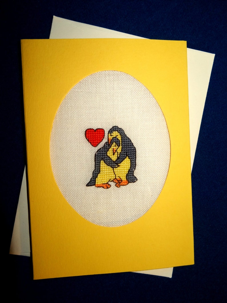 love valentines personalized handmade embroidery greeting cross stitch flower custom linen blank greetings Penguins in love card