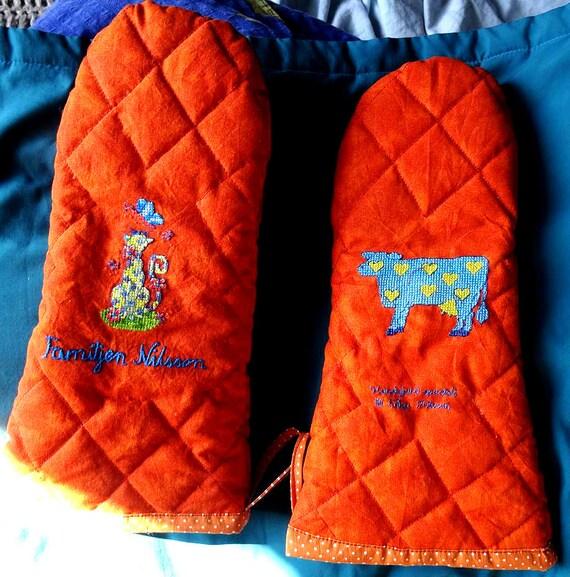 Misura guanti da forno punto croce cucina personalizzato  ca59b814ff49