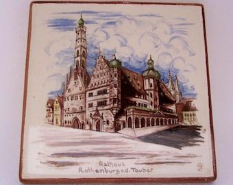 Vintage Ceramic Tile Trivet Germany Souvenir Rothenburg ob der Tauber Town Hall