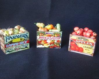 Artisan Handmade Dollhouse Miniature Produce Crates - Pears. Pumpkins & Gourds, Apples  - Choose One