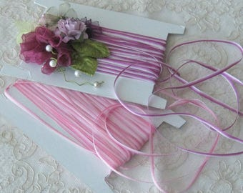 """Ombre Ribbon - Pink or Violet (Purple) - 1/8"""" Wide - Sold in 3 Yd. Cuts - Crafts, Sewing, Ribbonwork, Crazy Quilt & Miniatures"""