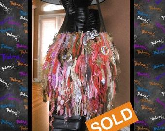 Upcycled Fringe Handbag ,Rag, Scrap, Custom Made, One Of A Kind, Hippie,BoHo,Funky,Purse,Tote