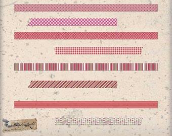 Pink Patterned Washi Tape Clip Art Digital Collage Sheet - Digital Ephemera - For Scrapbook Tag and Journal  Paper Crafts - 8 PNG Files