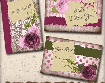 Love Notes Digital Card Making Kit - Create 4 x 6 Valentine or Love Cards - Digital Ephemera and Papers forJournal and Scrapbook Paper Craft