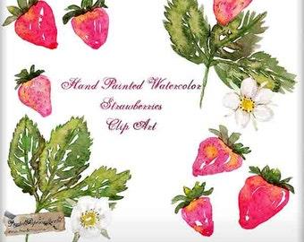 Watercolor Strawberries Clip Art Hand Painted - Berries, Leaves, Blossoms - Digital Ephemera - Scrapbook Tag & Art Journal - 11 PNG Files