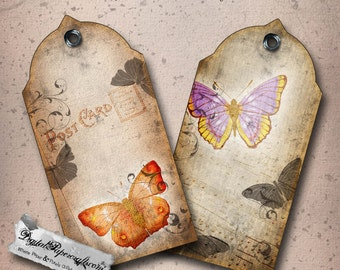 Vintage Paper Butterfly Printable Tags - Distressed Gift Tag Sheet  - Digital Collage Sheet - Art Journal Digital Scrapbooking  Paper Craft
