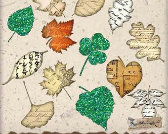 Paper and Glitter Leaves Clip Art Digital Collage Sheet - Digital Ephemera - For Scrapbook Tag and Journal  Paper Crafts - 13 PNG Files