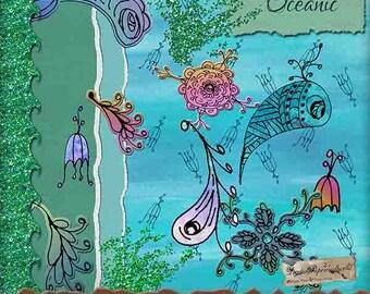 Oceanic Digital Scrapbooking Kit - Fishy Doodle Pattern Papers - Swirly Fish Clip Art - Digital Scrapbooking Journaling & Paper Craft