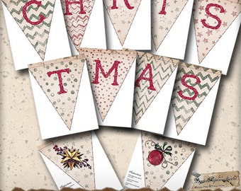 Christmas Printable Banner - Ready to Print Holiday Garland - Holiday Decor - Digital Collage Sheet - Paper Crafts - Party Decoration