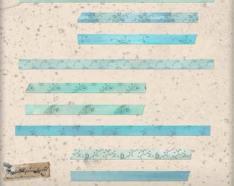 Oceanic Green Pattern Washi Tape Clip Art Digital Collage - Digital Ephemera - For Scrapbook Tag and Journal  Paper Crafts - 9 PNG Files