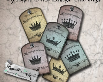 Spring is Here French Crown Tags - Printable Distressed Gift Package Tags - Grunge Chic - Digital Collage Sheet - Tag Journal and Scrapbook