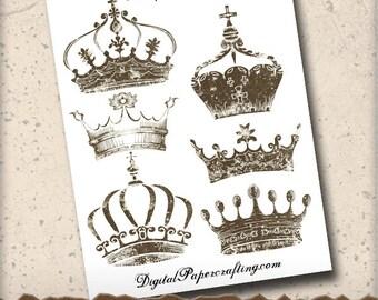 Antique Crowns Clip Art Digital Collage Sheet - Digital Ephemera - For Scrapbook Tag and Journal  Paper Crafts