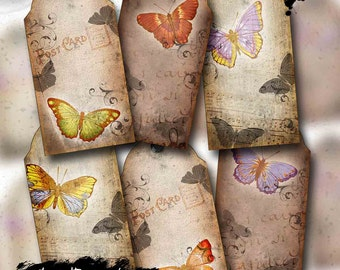 Vintage Butterfly Digital Collage Tag Sheet, Printable Gift Tags for Art and Junk Journals, Scrapbooking and Paper Crafts - Digital Download