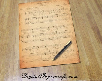 Printable Music Journal Paper - 8.5 x 11 - Vintage Sheet Music - For Stationery Art Journals and Digital Collage - Printable Music Paper