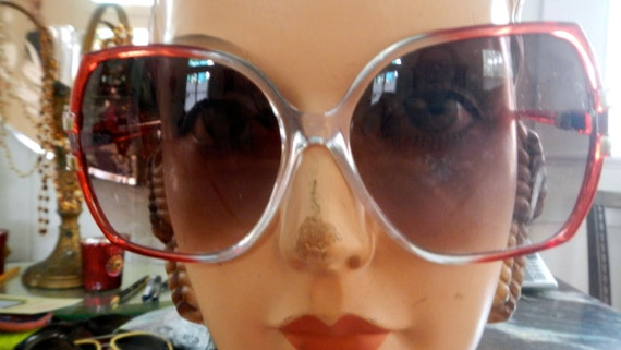 Seventies mod oversized red  licite sunglasses in… - image 1