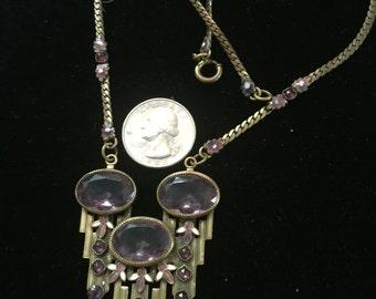 AnArt Deco Czechoslovakian enameled amethyst stone necklace ,circa 1930