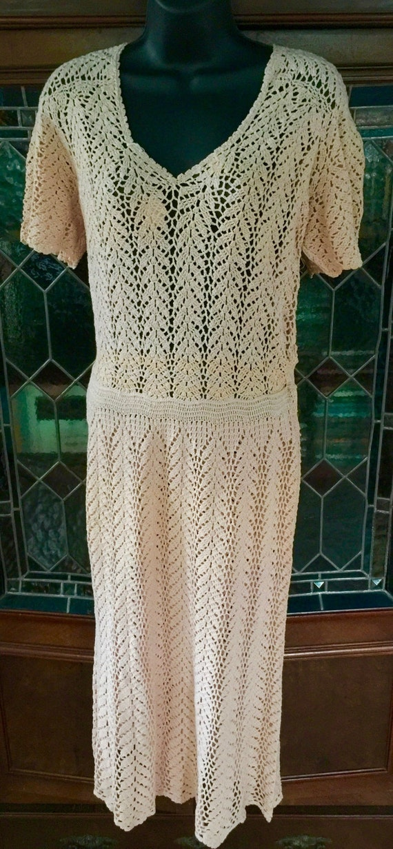 Late 30s,early 40s crochet peach pink dress in ope