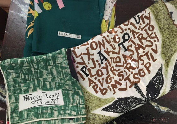 Jean Patou,Maggy Rouff and Bellotti silk scarves c