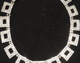 Dianne Bell rhinestone necklace in bib style,circa 1960