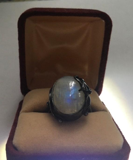 Natural rainbow moonstone sterling signed ring cir
