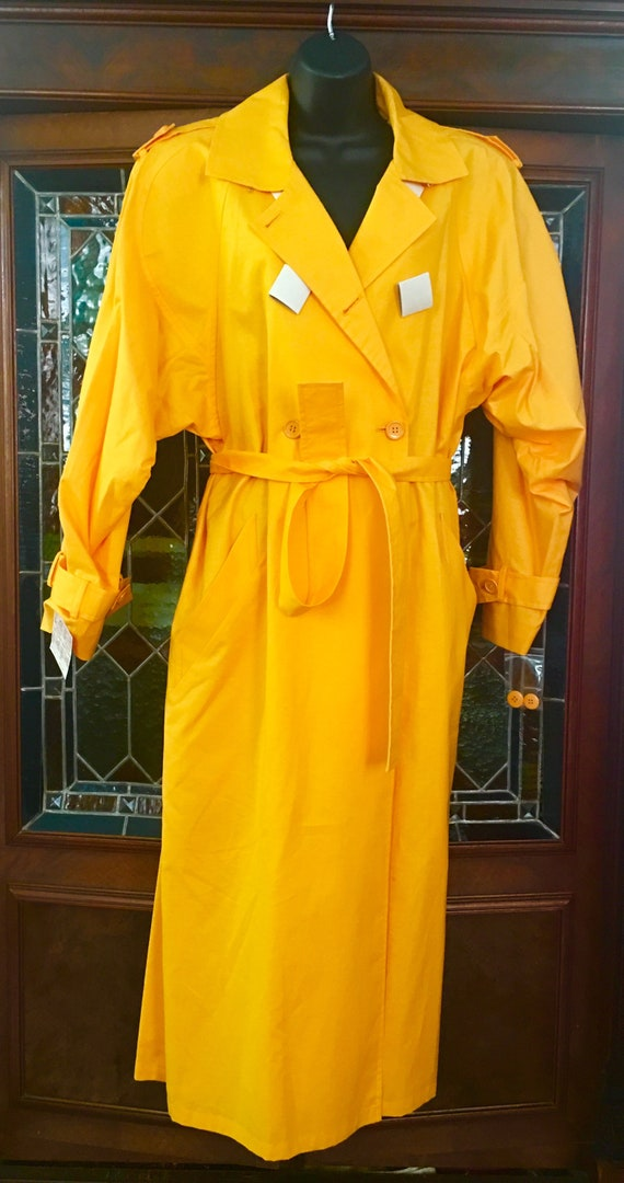 I.Magnin 1980s Yellow butterscotch  trench coat sh