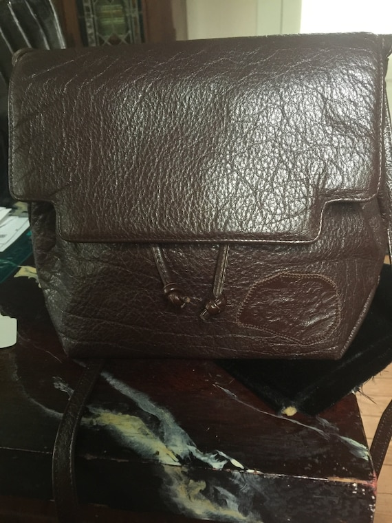1980s Carlos Falchi leather bag in brown leather m