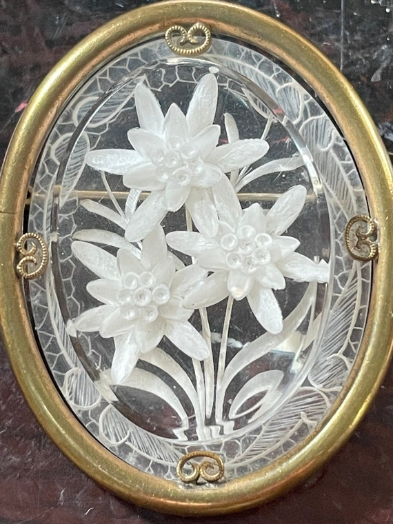 Reversed carved flower crystal brooch circa 1930s