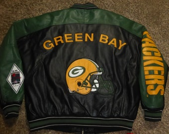 5112f964eda Vtg Green Bay Packers NFL Leather GIII Carl Banks Quarterback Club Jacket  Sz Men s XL