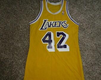 Vtg James Worthy Los Angeles Lakers Sand Knit MacGregor NBA Jersey Sz Men s  L 34703bf06