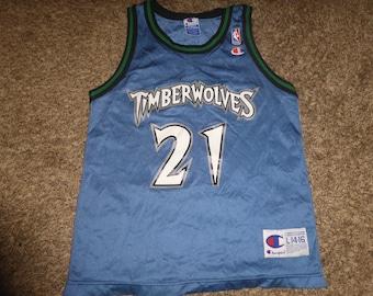 aa6a670a760a Vtg Kevin Garnett Minnesota Timberwolves Wolves NBA Champion Jersey Sz  Youth M 10-12