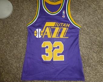 deeab4f6b11 Vtg Karl Malone Utah Jazz Champion NBA Purple Jersey Sz Men's 36 S