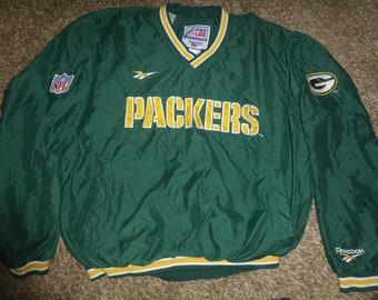 776f85d6f Vtg Green Bay Packers Authentic Pro Line Reebok NFL Pullover SEWN Jacket Sz Men s  XL