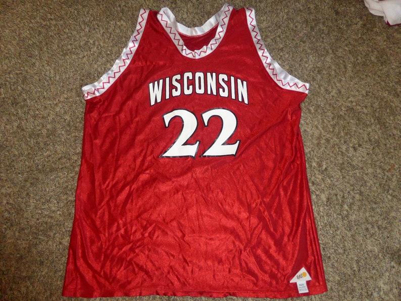 ef603b4c2a2e Vtg Wisconsin Badgers RAS Basketball NCAA Zig Zag Jersey Sz