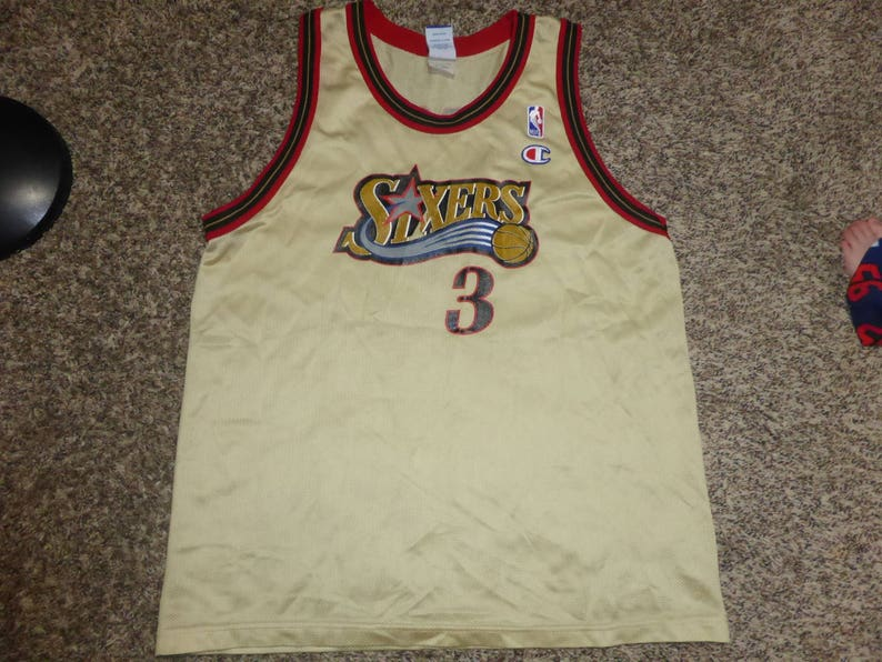 sneakers for cheap 35bd8 930c3 Vtg GOLD Allen Iverson Philadelphia 76ers Sixers NBA Champion Jersey Sz  Youth XL Men's S