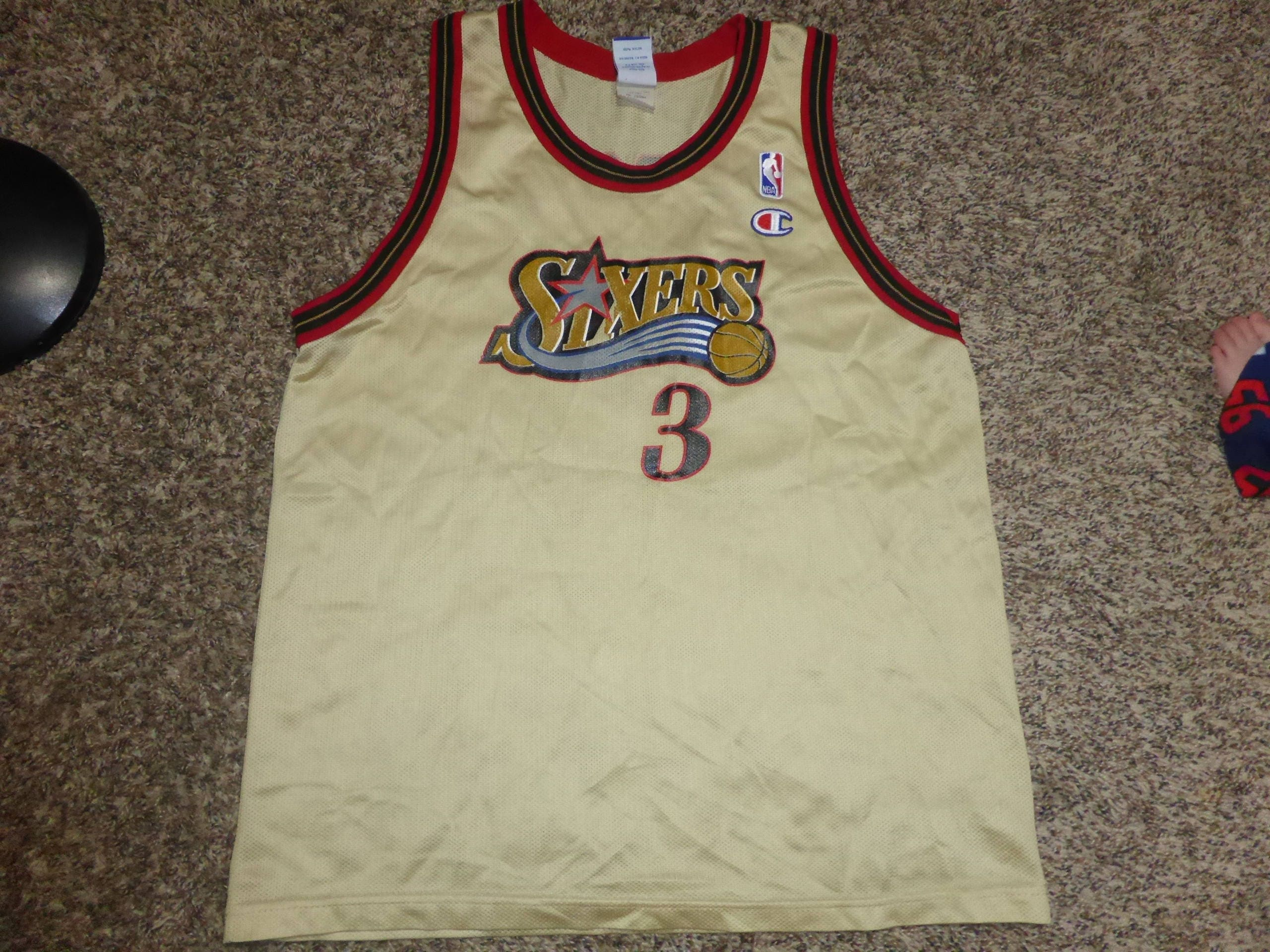 927d976e783 Vtg GOLD Allen Iverson Philadelphia 76ers Sixers NBA Champion