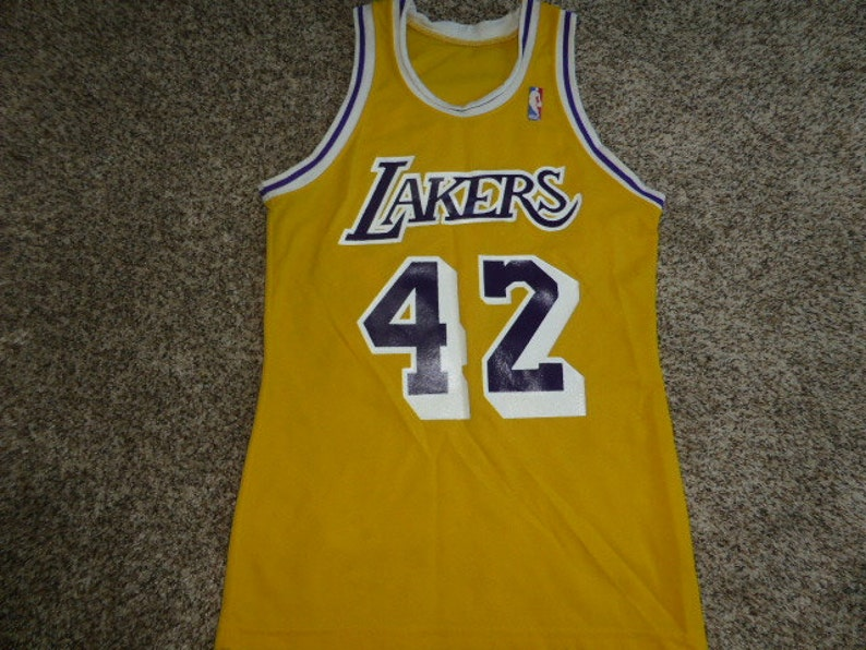 online store fe81e f7309 Vtg James Worthy Los Angeles Lakers Sand Knit MacGregor NBA Jersey Sz Men's  L