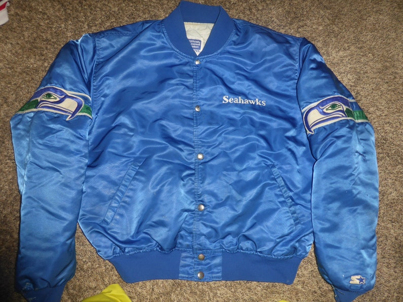 62114248 Vtg Seattle Seahawks NFL Starter Satin Jacket Sz Men's XL ROUGH