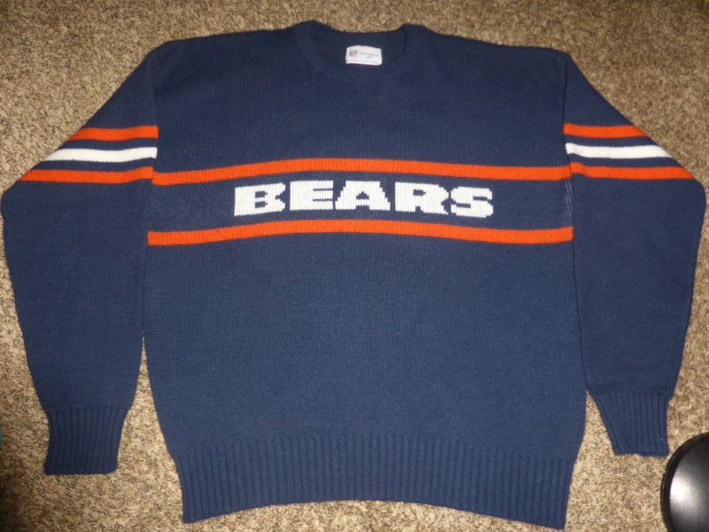 new product c0084 a570c Vtg 80's Chicago Bears Cliff Engle Mike Ditka NFL Wool Sweater Sweatshirt  Sz Men's XL
