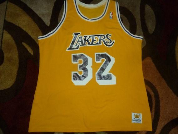 96f3ffb42 Vtg Magic Johnson Los Angeles Lakers Sand Knit MacGregor NBA