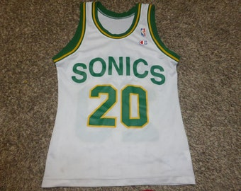 Vtg Gary Payton Seattle Supersonics Sonics NBA Champion Jersey Sz Men's 36 S