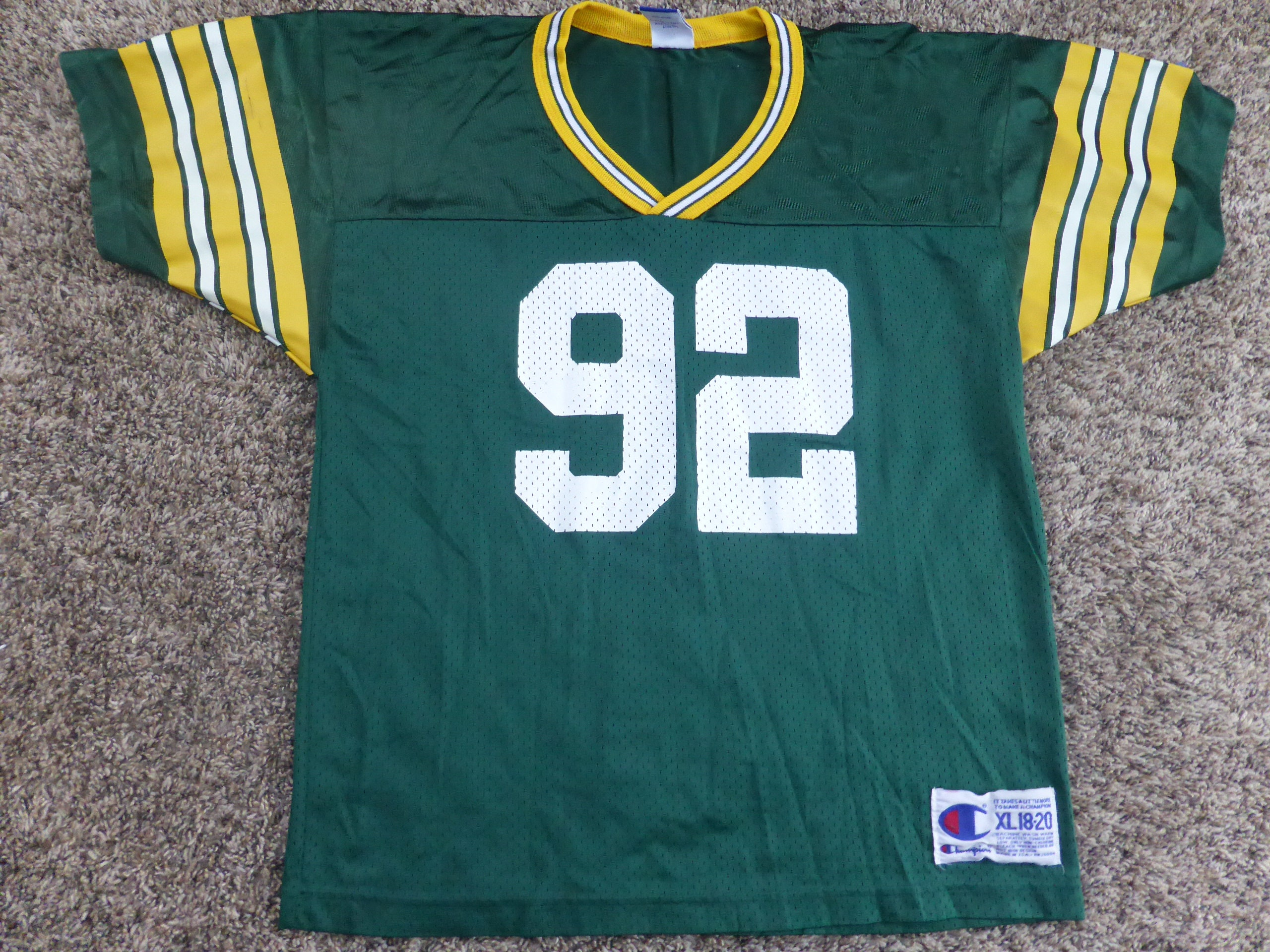 d6e2c95b Vtg Reggie White Green Bay Packers NFL Champion Jersey Sz Youth XL 18-20