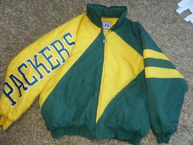 09dade387 Vtg Green Bay Packers NFL Logo 7 Hooded Winter Jacket Sz