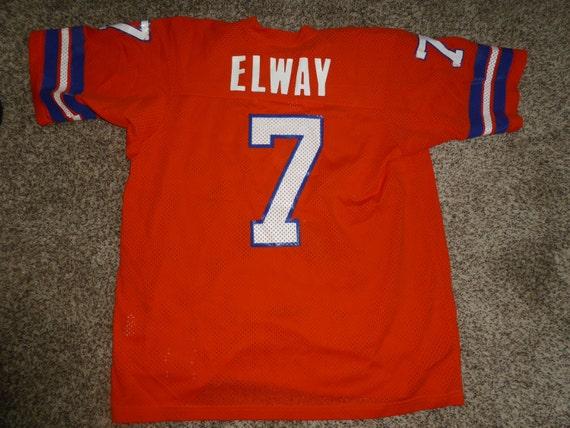 Vtg John Elway Denver Broncos NFL Sand Knit Jersey